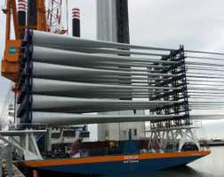 Lashing solution for the transport of rotor blades for Dutch wind farm